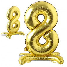 Foil Standing Balloons, number 8, gold 81cm