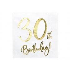Napkins 30th Birthday, white, 33x33cm (1 pkt / 20 pc.)