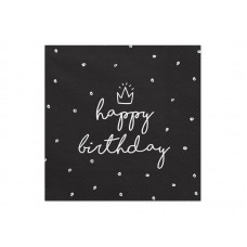 Napkins Happy Birthday, black 33x33 cm (1 pack / 20 pc.)