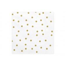 Napkins Stars, gold, 33x33cm (1 pack / 20 pc.)