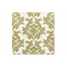 Napkins, white/gold, 33 x 33 cm (1 pkt / 20 pc.)