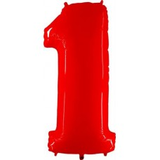 Number 1 Red Shiny White 102cm Single Pack