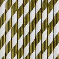 Paper Straws, gold, stripes 19.5cm (1 pkt / 10 pc.)