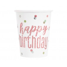 Paper cups Glitz Happy Birthday, 266 ml, rose gold, 8 pcs