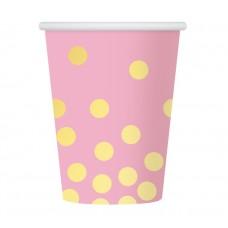 "Paper cups ""Gold dots"", pink, 270 ml, 6 pcs"
