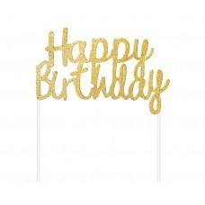 Cake Topper Happy Birthday, gold, 11x14 cm