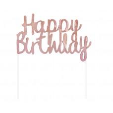 Cake Topper Happy Birthday, rose-gold, 11x14 cm