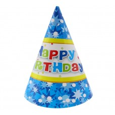 "Paper hats ""Happy Birthday - blue"", 6 pcs"