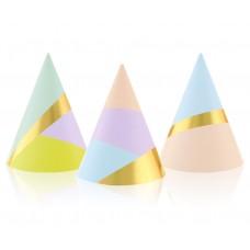 Paper hats Pastel Party, 6 pcs