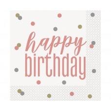 Paper napkins Glitz - Happy Birthday, 33x33 cm, rose gold, 16 pcs