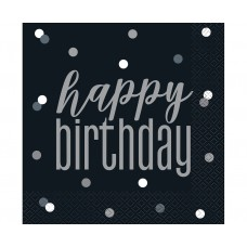 Paper napkins Glitz Happy Birthday, 33x33 cm, black, 16 pcs