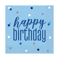 Paper napkins Glitz Happy Birthday, 33x33 cm, blue, 16 pcs