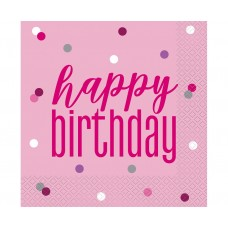 Paper napkins Glitz Happy Birthday, 33x33 cm, pink, 16 pcs