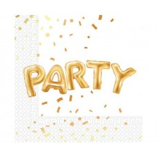 Paper napkins Gold Party, size 33 x 33 cm, 20 pcs.