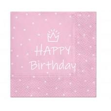 Paper napkins Happy Birthday, light pink, 33 x 33 cm / 20 pcs.
