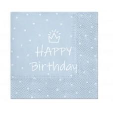 Paper napkins Happy Birthday, light blue, 33 x 33 cm / 20 pcs.