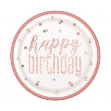 Paper plates Glitz Happy Birthday, 23 cm, rose gold, 8 pcs