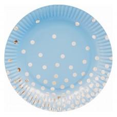 Paper plates Silver dots blue, 18 cm, 6 pcs