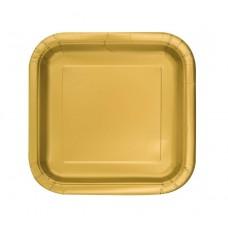 Paper plates, gold, square, 18 cm, 16 pcs.