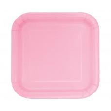 Paper plates, pink, square, 16 pcs.
