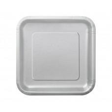 Paper plates, silver, square, 18 cm, 16 pcs.