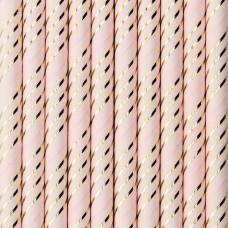 Paper straws, light pink, 19.5cm (1 pkt / 10 pc.)