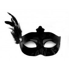 Party Mask with a feather, black