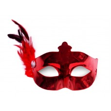 Party Mask with a feather, red