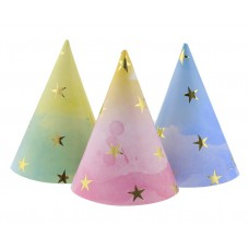 Party hats Gold Stars, assorted, 6 pcs
