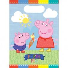 Peppa Pig Party Bags - Plastic Loot Bags - 16cm x 23cm - 8pcs