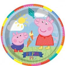 Peppa Pig Plates - 23cm Paper Party Plates, 8 pcs.