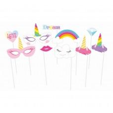 "Photo booth props ""Rainbow Unicorn"", 10 pcs"