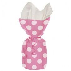 Pink Polka Dots Cello Party Bags 28cm x 12cm - 20pcs