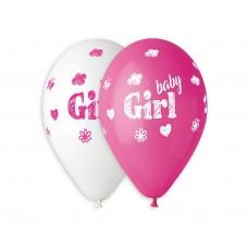 "Premium balloons (suitable for helium) Baby Girl, 13"" / 5 pcs."