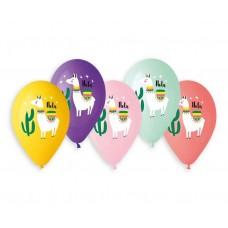"""Premium helium balloons Lama and Cactus, 13"""" / 5 pcs."""