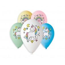 """Premium helium balloons Unicorn and Rainbow, 13"""" / 5 pcs."""