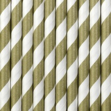 Paper Straws, gold, 19.5cm (1 pack / 10 pc.)