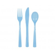 Set 18, powder blue cutlery (6 spoons, 6 knives, 6 forks)