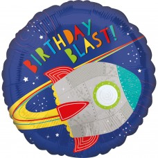 Standard HX Blast off Birthday Foil Balloon S40 Packaged