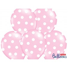 Balloons 30cm, Dots, Pastel Baby Pink (6 pc.)