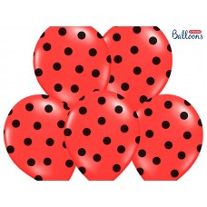 Balloons 30cm, Dots, Pastel Poppy Red 6 units
