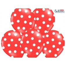 Balloons 30cm, Dots, Pastel Poppy Red (6 pc.)
