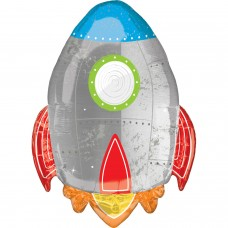 "SuperShape XL Blast off Birthday Foil Balloon P35 Packaged 21""/53cm w x 29""/73cm h"