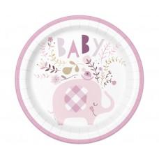Paper plates Floral Elephant, pink, 23 cm, 8 pcs.