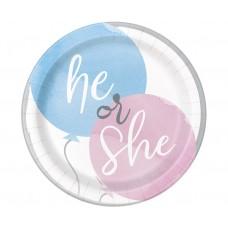 Paper plates Gender reveal party, 18 cm, 8 pcs.