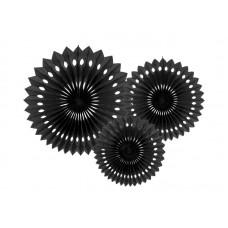 Tissue fan, black, 20-30cm (1 pkt / 3 pc.)