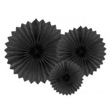 Tissue fan, black, 20, 30, 40cm (1 pkt / 3 pc.)