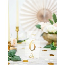 Tranparent table numbers, gold, 7x12cm (1 pkt / 20 pc.)