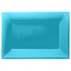Turquoise Serving Platters - 23cm x 32cm Plastic - 3pcs