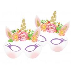 Unicorn paper masks, 18x20 cm, 6 pcs